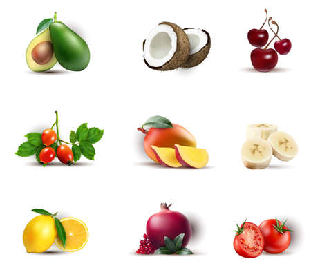 Fruits set isolated Vector realistic. Mango, coconut, avocado 3d detailed Illustrations