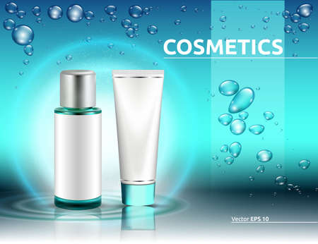 Hydration Cosmetics packaging product mock up. Shinny water splash blue effect. Bubbles of water on backgrounds