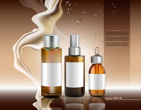 Moisture oil bottles set Vector realistic. Cosmetics serum skin care. Product packaging design. Background lotions splash