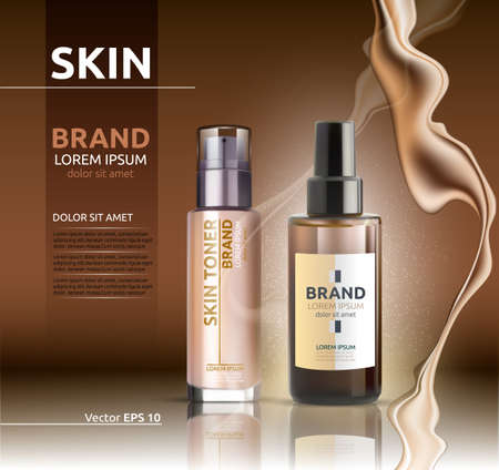 Skin toner and oil Vector realistic. BB cream. Product packaging designs. Background lotions splash Vettoriali