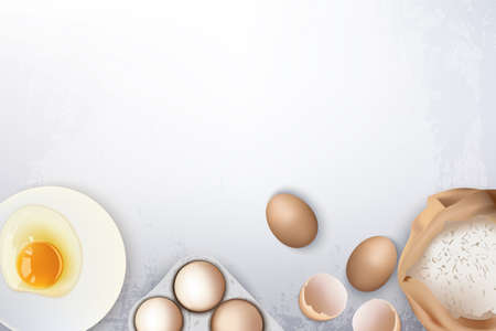 Eggs and flour ingredients for baking bread or cookies Vector realistic. Product placement organic natural fresh food banner. Menu template posters Vettoriali