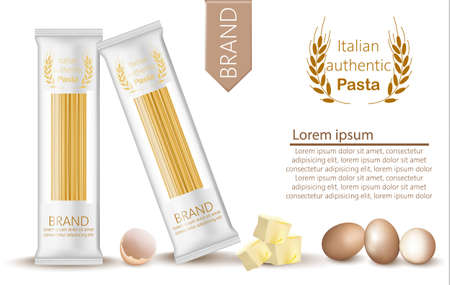 Pasta spaghetti package mock up. Product placement organic natural fresh food banner. Menu template posters