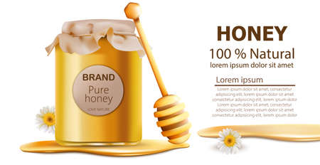 Honey jar vector realistic mock up. Package placement natural products