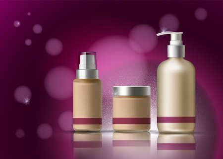 Skin cosmetics Vector realistic. BB cream. Lotion diffuser. Product packaging designs. Mesmerizing purple Backgrounds