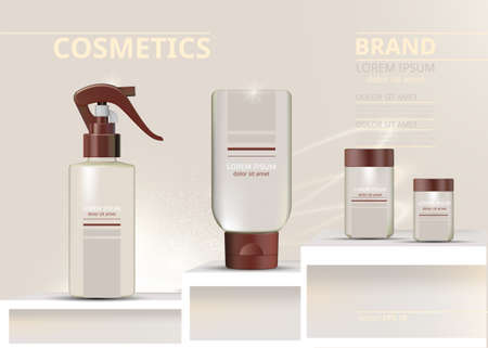 Spray and lotions cosmetics set vector realistic. Product package. Moisturizers and tube containers. Cream bottles label designs 向量圖像