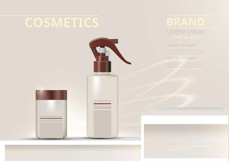 Spray cosmetics set vector realistic. Product package. Moisturizers and tube containers. Cream bottles label designs