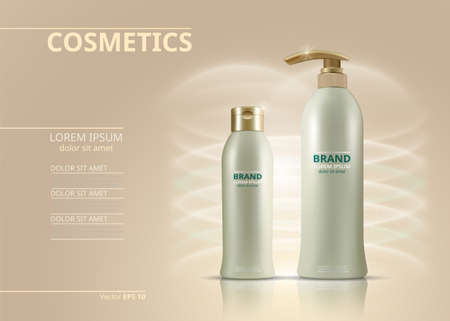 Cosmetics set vector realistic. Product package. Moisturizers tube containers. Cream bottles golden label designs