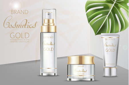 Cosmetics set vector realistic. Product package. Moisturizers tube containers. Cream bottles golden labels design. Tropic leaves on beige and white backgrounds