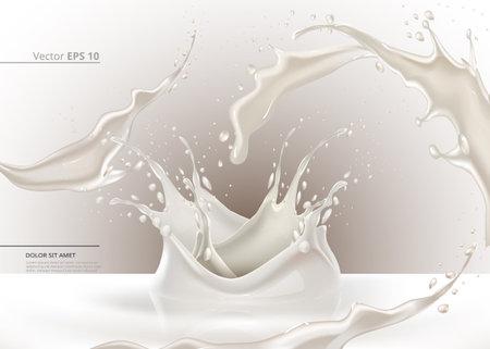 Milk splash vector realistic. Closeup liquid freshness banner background templates Vettoriali