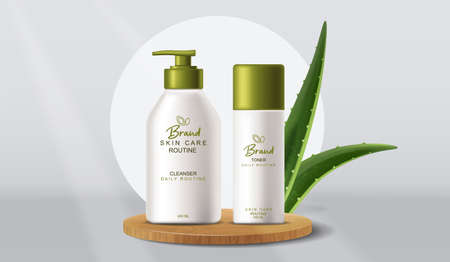 Aloe Vera cosmetics products Vector realistic. Product placement mock up bottles. Packaging design label lotions Vettoriali