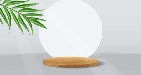 Geometric stage background vector realistic with tropical leaf. Product placement mock ups Vettoriali