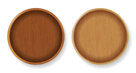 Wood round plates Vector realistic. Product placement mock up elements. 3d detailed illustrations