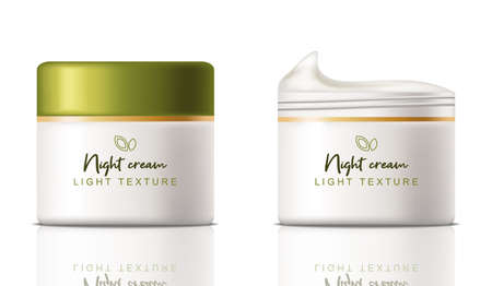 Cream cosmetics Vector realistic. Product placement mock up bottles. Packaging design label lotions 3ds