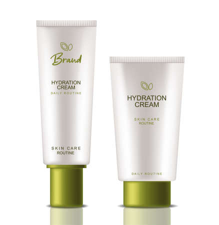 Green cosmetics products Vector realistic. Product placement mock up bottles. Packaging design label lotions 3ds Vettoriali