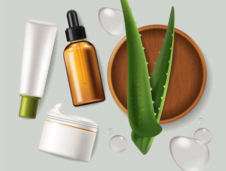 Aloe Vera leaves and cosmetics Vector realistic. Serum, cream products placement mock up bottles. Packaging design label lotions. Splash water drops backgrounds Vettoriali