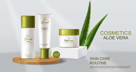 Aloe Vera cosmetics Vector realistic. Cream product placement mock up bottles. Packaging design label lotions Vettoriali