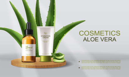 Aloe Vera cosmetics Vector realistic. Serum and cream product placement mock up bottles. Packaging design label lotions