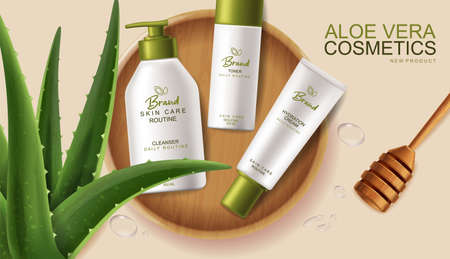 Aloe Vera cosmetics Vector realistic. Hydration cream products placement mock up bottles. Packaging design label lotions. Splash water drops backgrounds