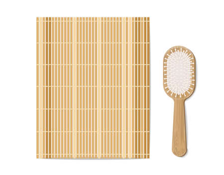 Bamboo mat and brush vector realistic. Natural sustainable materials product placement mock ups Vettoriali