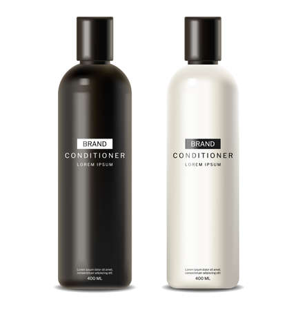 Shampoo and conditioner Vector realistic. Cosmetics hair treatment package products Vettoriali