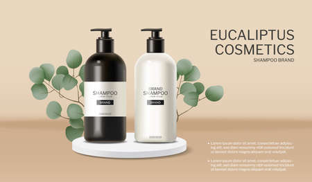 Shampoo and conditioner eucalyptus essence Vector realistic. Cosmetics hair treatment package products.