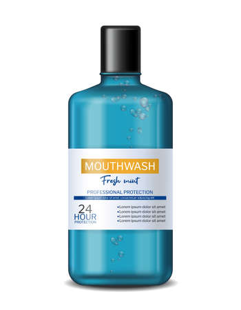 Mouthwash fresh mint Vector realistic. Product placement bottle label designs