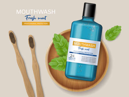 Mouthwash and bamboo brush Vector realistic. Product placement mock ups