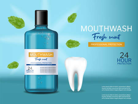 Mouthwash oral care fresh mint Vector realistic. Product placement mock ups