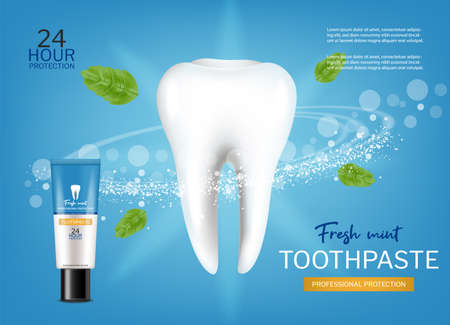 Fresh mint toothpaste Vector realistic. Special hygiene product placement mock ups Vettoriali