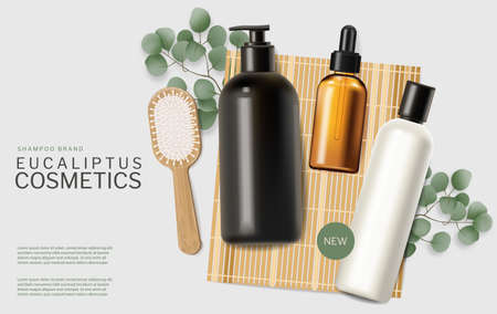Shampoo and oils on Bamboo mat vector realistic Natural sustainable materials product placement mock ups Vettoriali