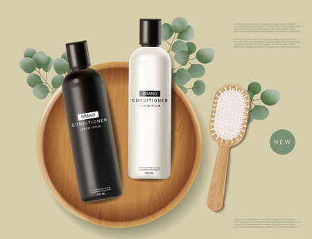 Shampoo and conditioner. Hair care set cosmetics vector realistic. Product placement mock ups