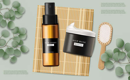 Hair care set cosmetics vector realistic. Shampoo and butter mask. Product placement mock ups
