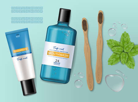 Mouthwash, toothpaste and bamboo brush Vector realistic. Product placement mock ups