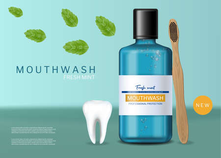 Mouthwash and brush fresh mint Vector realistic. Product placement mock up 3d illustrations