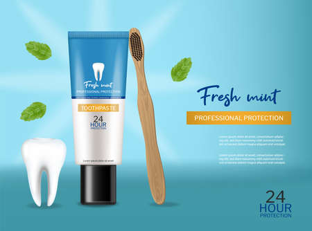 Toothpaste isolated Vector realistic. Special hygiene product placement mock ups
