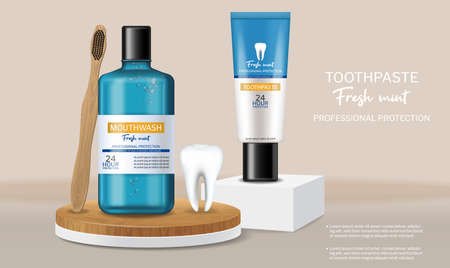 Organic Toothpaste and mouthwash on stage Vector realistic. Special hygiene product placement mock ups