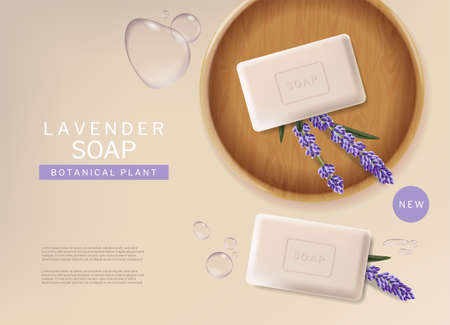 Lavender soap vector realistic. Natural product placement mock up. 3d illustrations