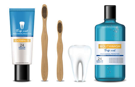 Mouthwash and dental bamboo brush Vector realistic. Product placement mock ups