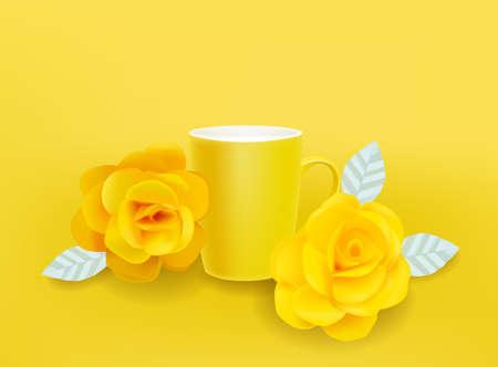 Yellow mug and flowers