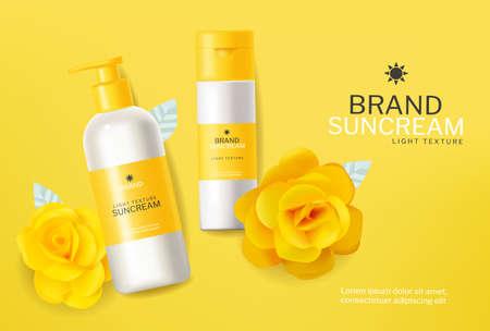 Yellow cosmetics sunscreen lotion Illustration