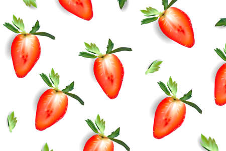 Strawberry sliced juicy poster
