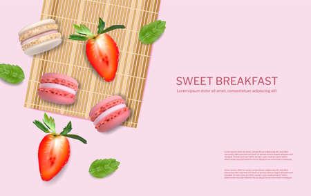Strawberry macaroons Illustration