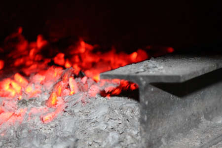 Glowing coal in wood oven