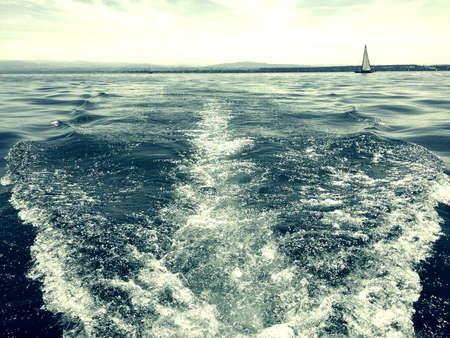 Swiss Lake at summer day