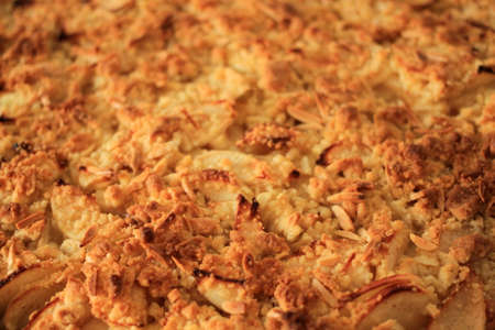 Fresh homemade apple pie with crispy crust close up