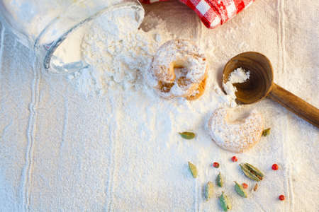 backing up: Baking cookies and biscuits  Food decoration for Christmasdays Celebration or easter Stock Photo