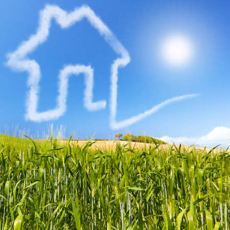 selling house: Concept for ecology real estate for sale or buy  Cloudhouse on a green cornfield  Concept about financing a credit for pay a housebuilding  Possibility of realizing a dream
