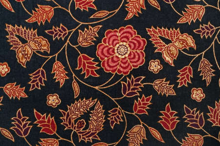 batik: Detail of Batik from Malaysia with Flowers and Leaves