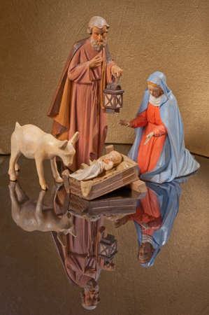Christmas Nativity Scene with Joseph Holding Lantern