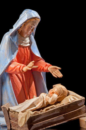 creche: Close up of Virgin Mary with Infant Christ Stock Photo